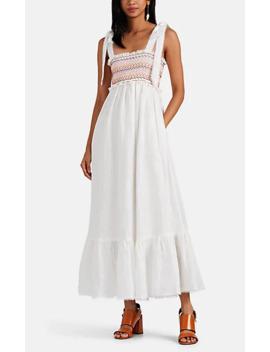 Goldie Smocked Linen Maxi Dress by Zimmermann