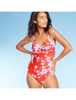 Women's Front Tie Medium Coverage One Piece Swimsuit   Kona Sol™ Red Floral by Kona Sol