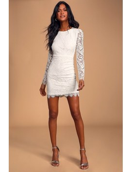 Blind Date White Lace Long Sleeve Bodycon Dress by Lulus