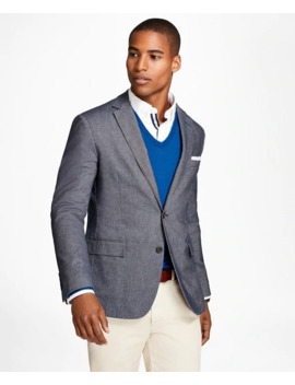 Heathered Stretch Cotton Twill Sport Coat by Brooks Brothers