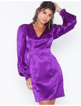 Balloon Sleeve Satin Dress by Nly Eve