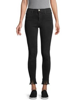 Le High Skinny Fringe Hem Ankle Jeans by Frame Denim