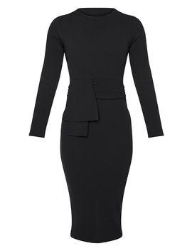 Black Long Sleeve Wrap Waist Midi Dress by Prettylittlething