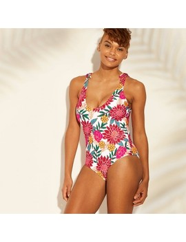 Women's Tie Shoulder One Piece Swimsuit   Sunn Lab Swim Pink Floral by Sunn Lab Swim