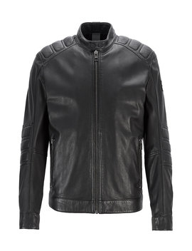 Leather Biker Jacket With Quilted Panels Leather Biker Jacket With Quilted Panels by Boss