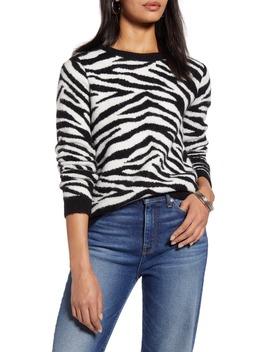 Zebra Stripe Crewneck Pullover by Halogen
