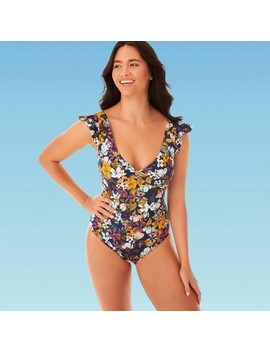 Women's Slimming Control Ruffle Sleeve One Piece Swimsuit   Beach Betty By Miracle Brands by Beach Betty By Miracle Brands