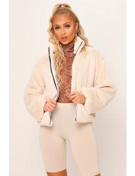 White Cropped Balloon Sleeve Fur Jacket by I Saw It First
