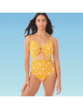 Women's Slimming Control Drawstring Cut Out One Piece Swimsuit   Beach Betty By Miracle Brands Yellow by Beach Betty By Miracle Brands