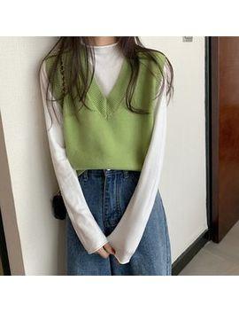 Closette   Mock Neck Plain Top / Sleeveless V Neck Knit Top by Closette