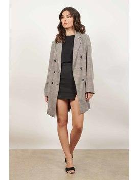 Lean On Me Plaid Grey Boyfriend Long Line Blazer by Tobi