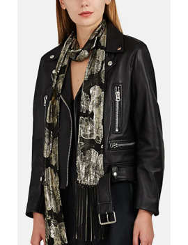 Chain Fringed Metallic Floral Jacquard Scarf by Saint Laurent