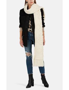 Aran Chunky Knit Wool Blanket Scarf by Saint Laurent