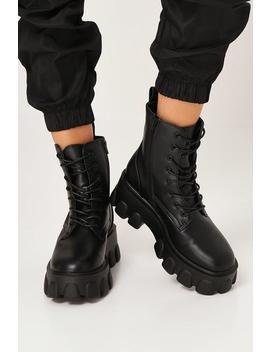 Black Lace Up Chunky Sole Boots by I Saw It First