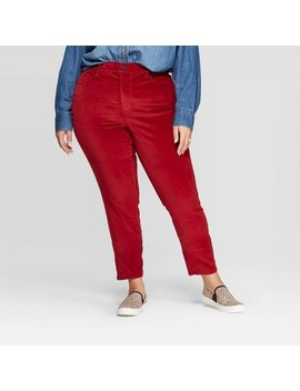 Women's Plus Size High Rise Velvet Skinny Jeans   Universal Thread™ Red by Universal Thread