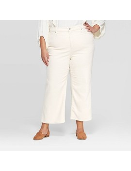 Women's Plus Size Mid Rise Wide Leg Cropped Jeans   Universal Thread™ White Wash by Universal Thread