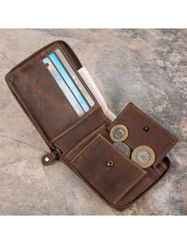 Leather Zip Wallets For Men Real 100 Percentage Premium Quality Wallet Card Holder With Gift Box Hand Made Hand Stitched by Etsy