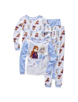Disney Girls 4 Pc. Frozen 2 Pant Pajama Set Preschool / Big Kid by Disney