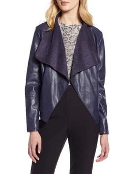 Faux Leather Drape Front Jacket by Halogen®