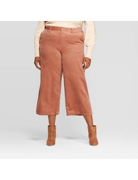 Women's Plus Size Wide Leg Cropped Corduroy Pants   A New Day™ by A New Day