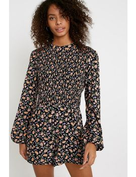 Uo Diana Floral Long Sleeve Romper by Urban Outfitters