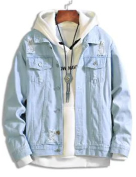 Popular Solid Color Ripped Decorated Denim Jacket   Light Blue L by Zaful
