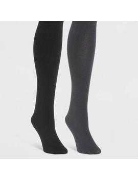 Muk Luks Women's Fleece Lined 2pk Tights   Black/Gray by Muk Luks