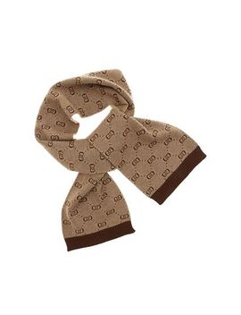 Brown And Beige Scarf With Gg Motif by Gucci