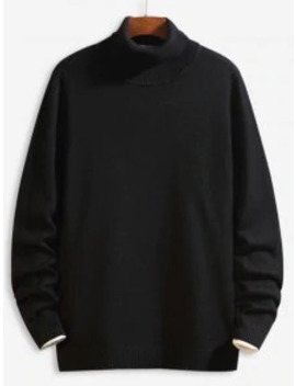 Hot Sale Casual Solid Color Turtleneck Sweater   Black M by Zaful