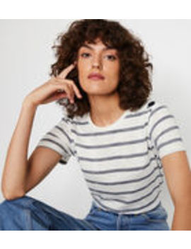 Button Shoulder Stripe T Shirt by Warehouse