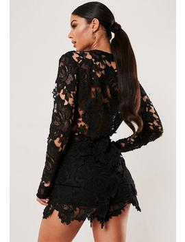 Black Crochet Lace Co Ord Tailored Jacket by Missguided