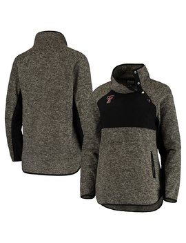 Texas Tech Red Raiders Women's Side Note Quilted Panel Snap Up Pullover Jacket   Black by Gameday Couture
