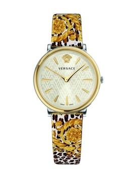 Ip Yellow Gold V Circle Tribute Watch by Versace