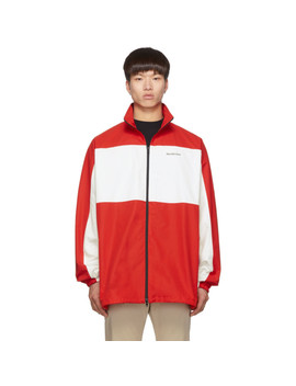 Red & White Zip Up Jacket by Balenciaga