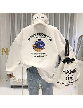 Streetwear Cotton Sweatshirt Womens Long Sleeve Tops Print O Neck Cute Hoodie Women's Demi Season Sweatshirt Streetwear by Ali Express.Com