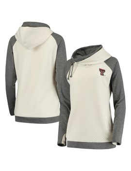 Texas Tech Red Raiders Women's Chill Layered Quilted Jacquard Pullover Hoodie   Cream/Charcoal by Gameday Couture