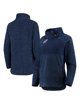 Kansas Jayhawks Women's Side Note Quilted Panel Snap Up Pullover Jacket   Navy by Gameday Couture