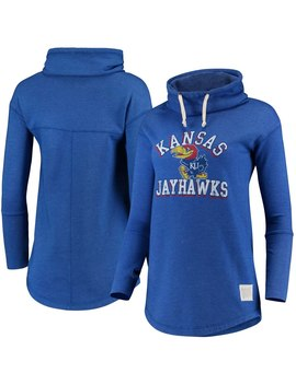 Kansas Jayhawks Original Retro Brand Women's Funnel Neck Pullover Sweatshirt   Royal by Original Retro Brand
