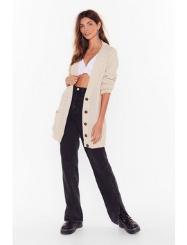 Vintage Cable Long Line Pocket Cardigan by Nasty Gal
