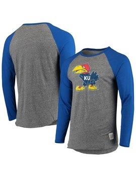 Kansas Jayhawks Original Retro Brand Vintage Long Sleeve Tri Blend Raglan T Shirt   Gray/Royal by Original Retro Brand