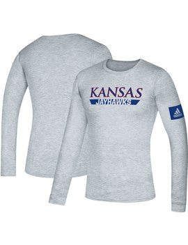 Kansas Jayhawks Adidas 2019 Sideline Practice Creator Climalite Long Sleeve T Shirt   Royal by Adidas