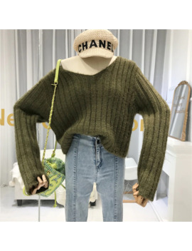 Loose Winter 2019 Womans Sweaters V Neck Casual Solid Fashion Pullover Jersey De Mujer Invierno Women Full Sleeve Sweater by Ali Express.Com