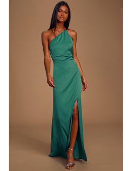 Captivating Teal Green Satin One Shoulder Maxi Slip Dress by Keepsake