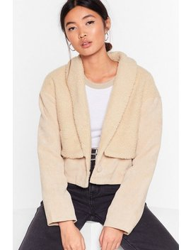 Struck A Cord Uroy Faux Shearling Jacket by Nasty Gal