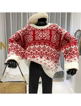 Snowflake Christmas Womens New Arrival Sweaters Loose Women Sweater And Pullovers 2019 Autumn Winter Casual O Neck by Ali Express.Com