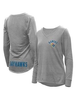 Kansas Jayhawks Women's Belle Relaxed Tri Blend V Neck Pullover Sweatshirt   Heathered Gray by Camp David