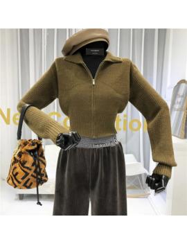 High Waist Women's Knitted Cardigans Turn Down Collar High Street Solid Zipper Fashion 2019 Autumn Winter New Sweater Women by Ali Express.Com