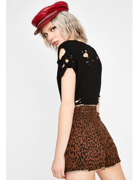 Can't Get Enough Leopard Skort by Dolls Kill
