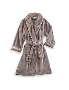 Wamsutta® Small/Medium Plush Bathrobe In Grey by Bed Bath And Beyond