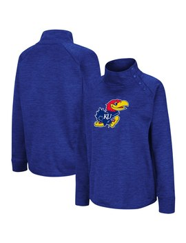 Kansas Jayhawks Colosseum Women's Marled Side Snap Pullover Jacket   Heathered Royal by Colosseum